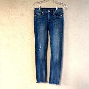 True Religion: Dark Wash Raw Hem Distressed Jeans